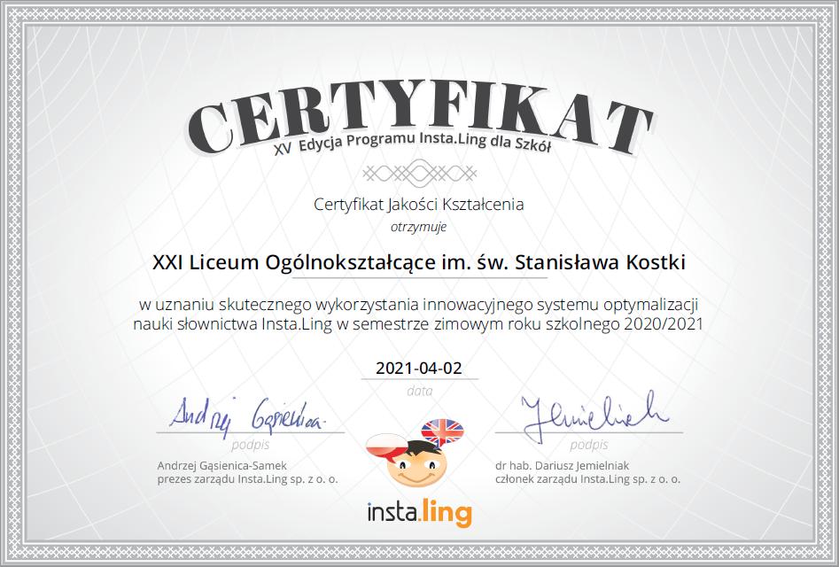 Certyfikat Jakości Kształcenia w XV edycji programu Insta.Ling