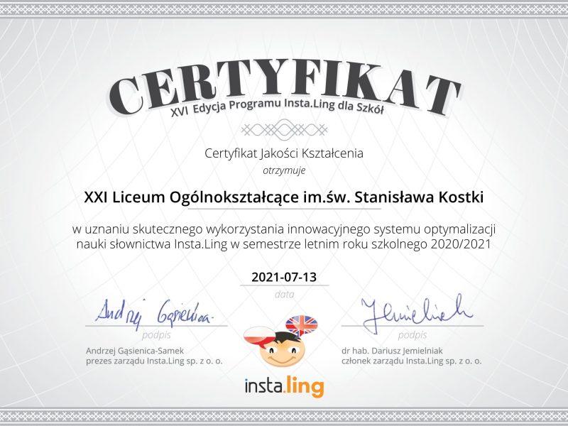 XVI edycja (semestr letni) programu Insta.Ling